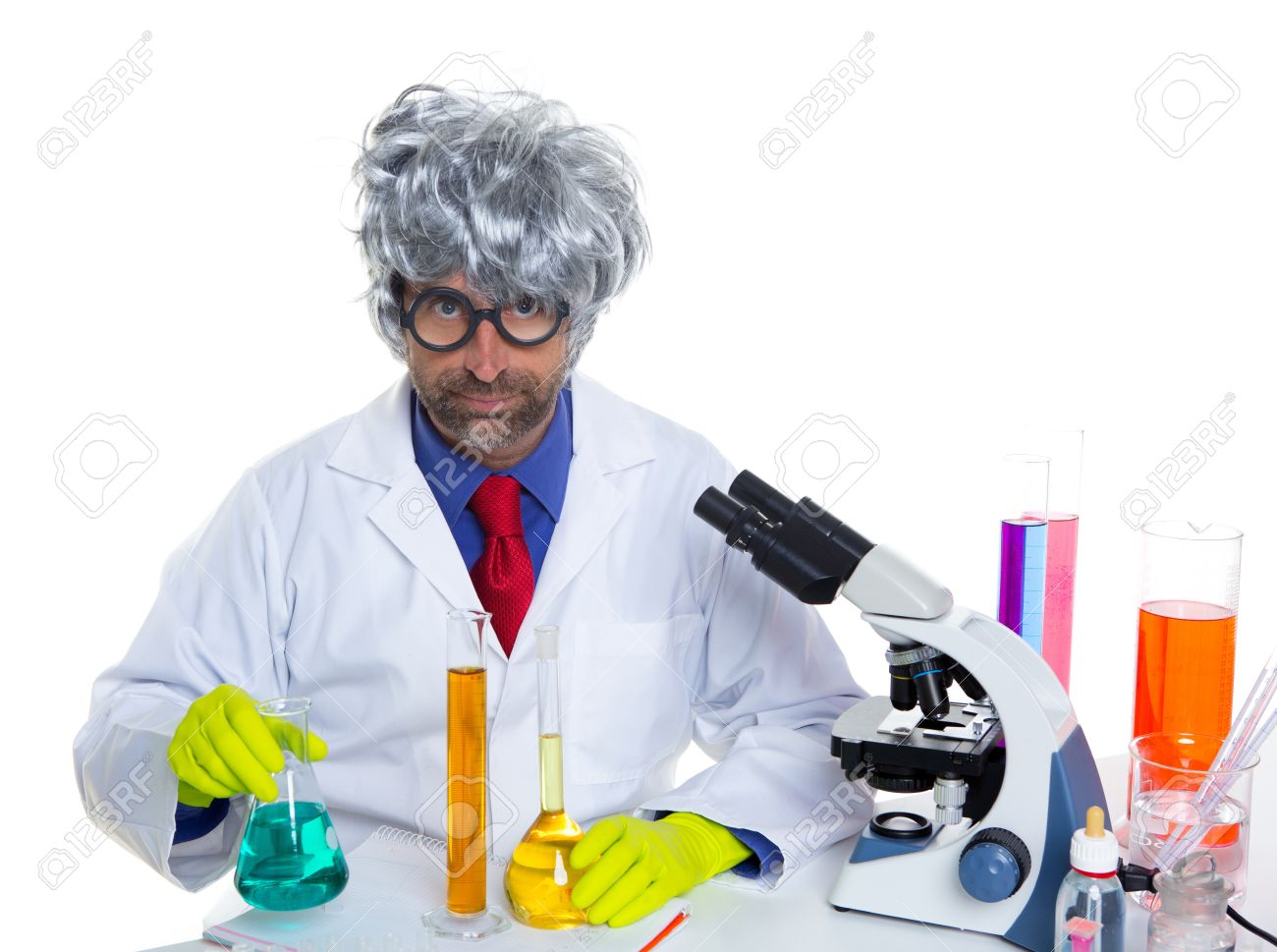 Nerd crazy scientist man portrait working at laboratory with gray hair Stock Photo - 16651313