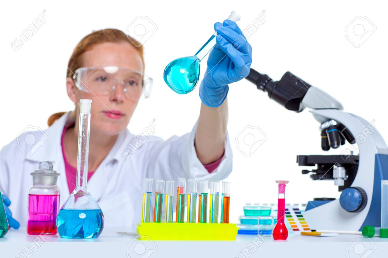 chemical laboratory scientist woman working with glass flask Stock Photo - 16651060