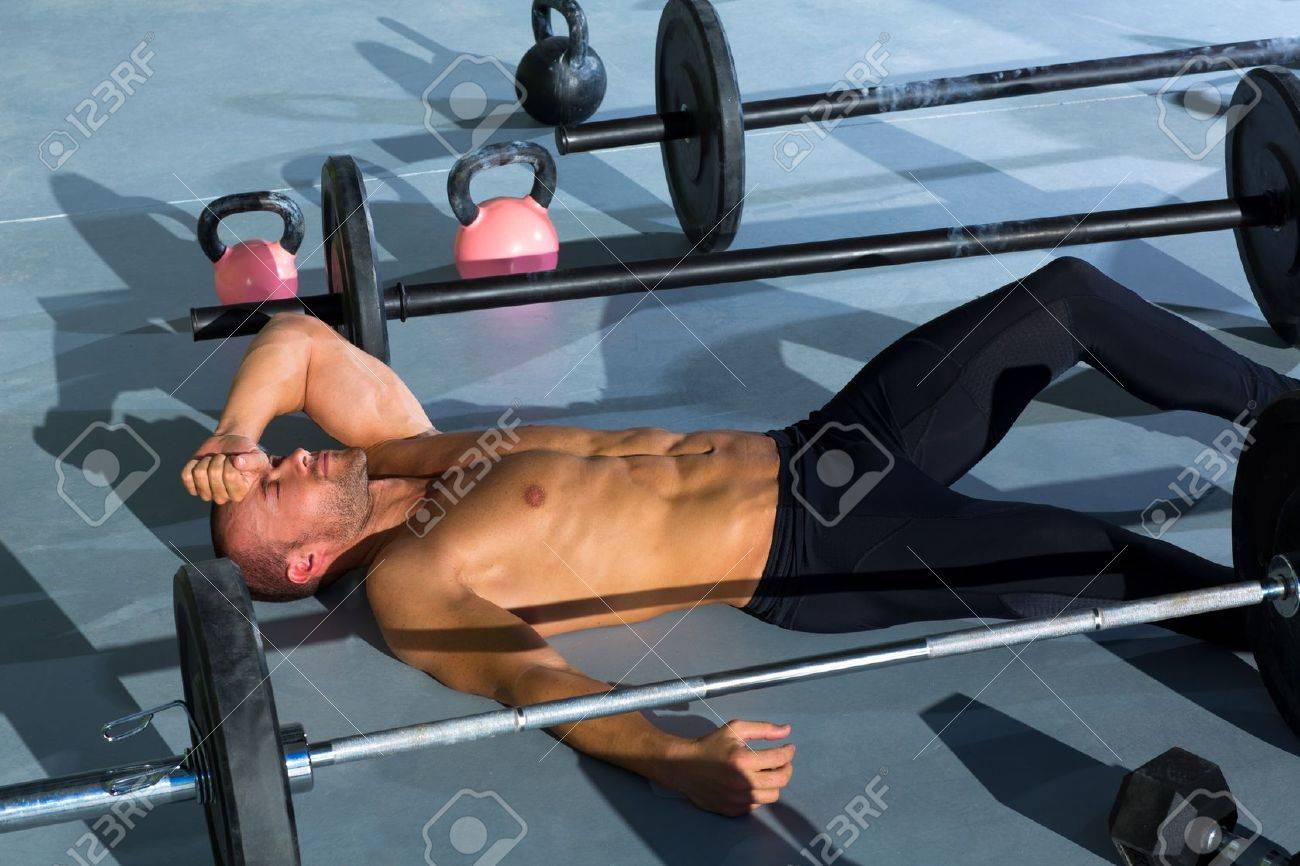 crossfit man tired relaxed after workout exercise Stock Photo - 17050551