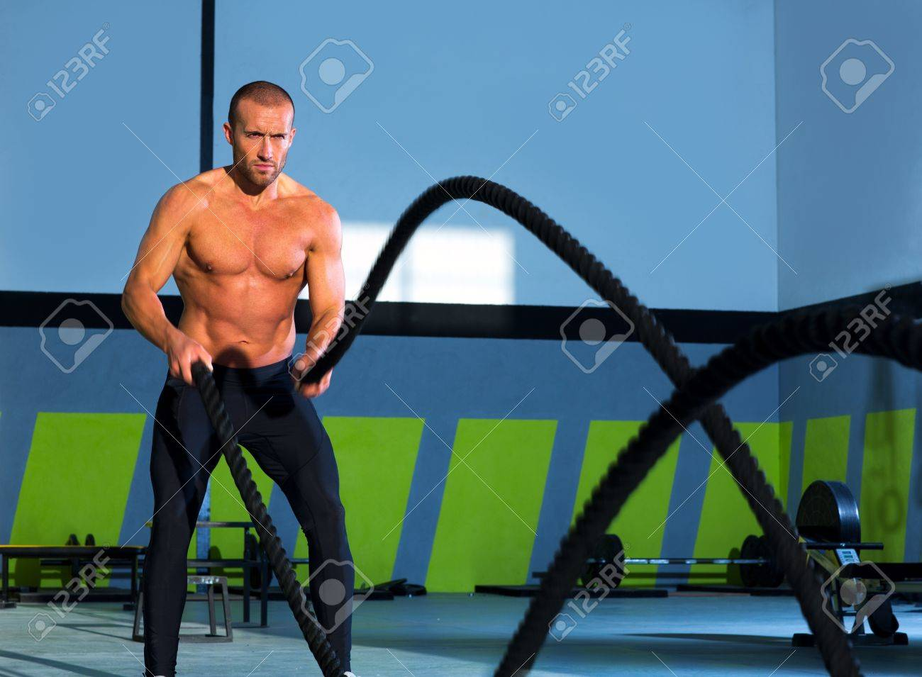 Crossfit battling ropes at gym workout fitness exercise Stock Photo - 17050612