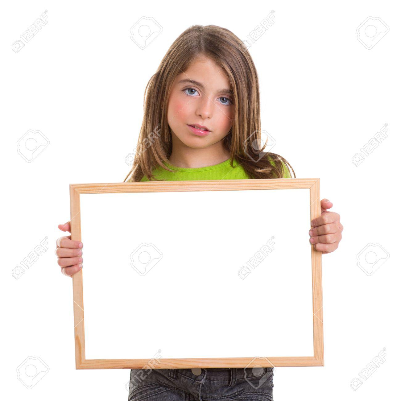 Kind Mädchen Mit Weißem Rahmen Kopie Raum Weißen Tafel Blauen Augen ...