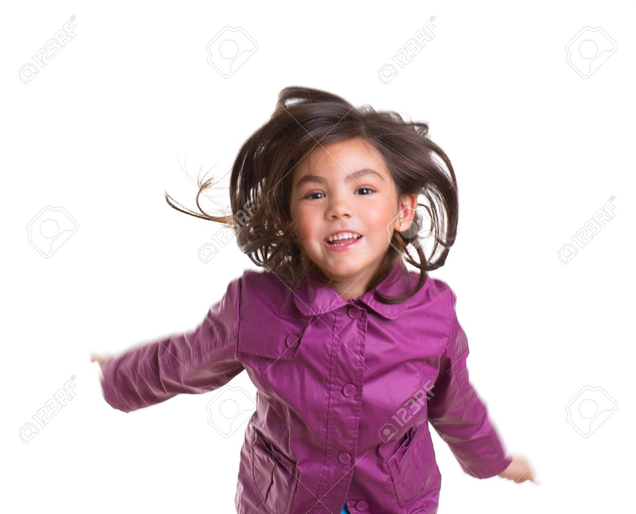 Asian Child Girl Jumping Happy With Winter Purple Coat Moving ...