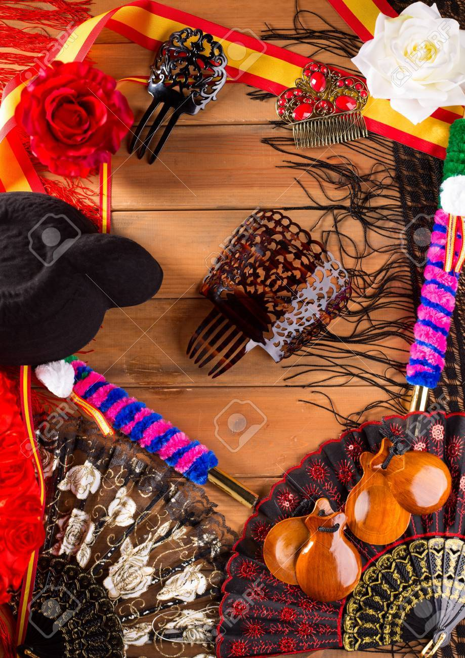 Bullfighter and flamenco typical from Espana Spain torero hat castanets comb flag and rose Stock Photo - 19616745