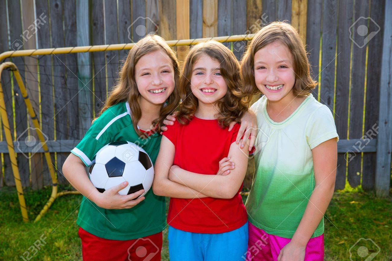 three sister girls friends soccer football winner players on