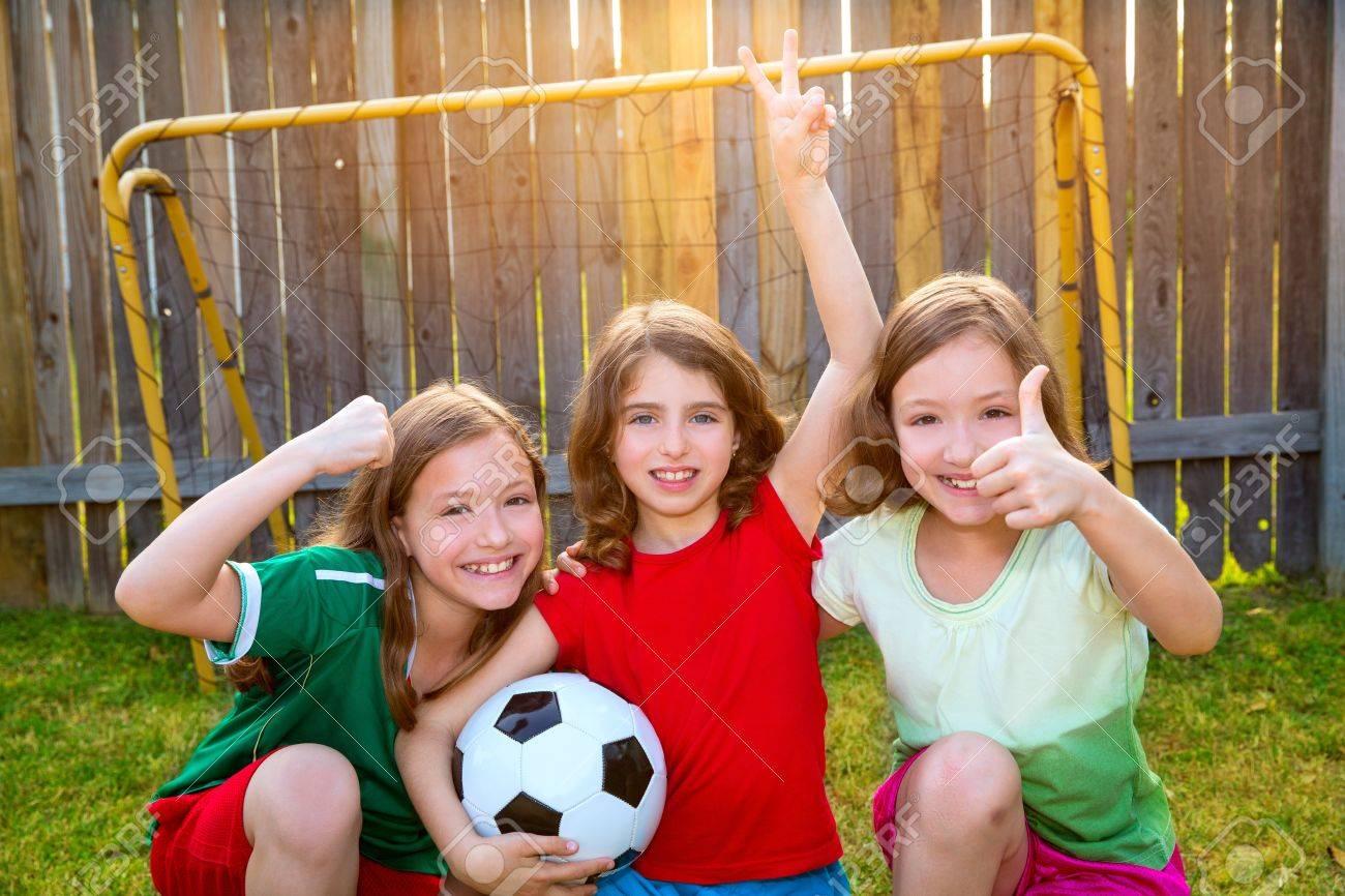 three sister girls friends soccer football winner players on