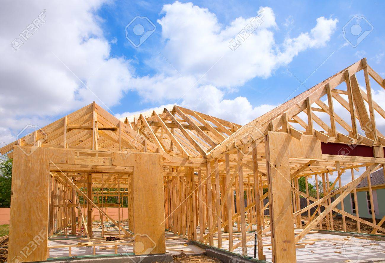 American Residential Wooden House Construction Detail In Blue Sunny Day Sky  Stock Photo   20089691