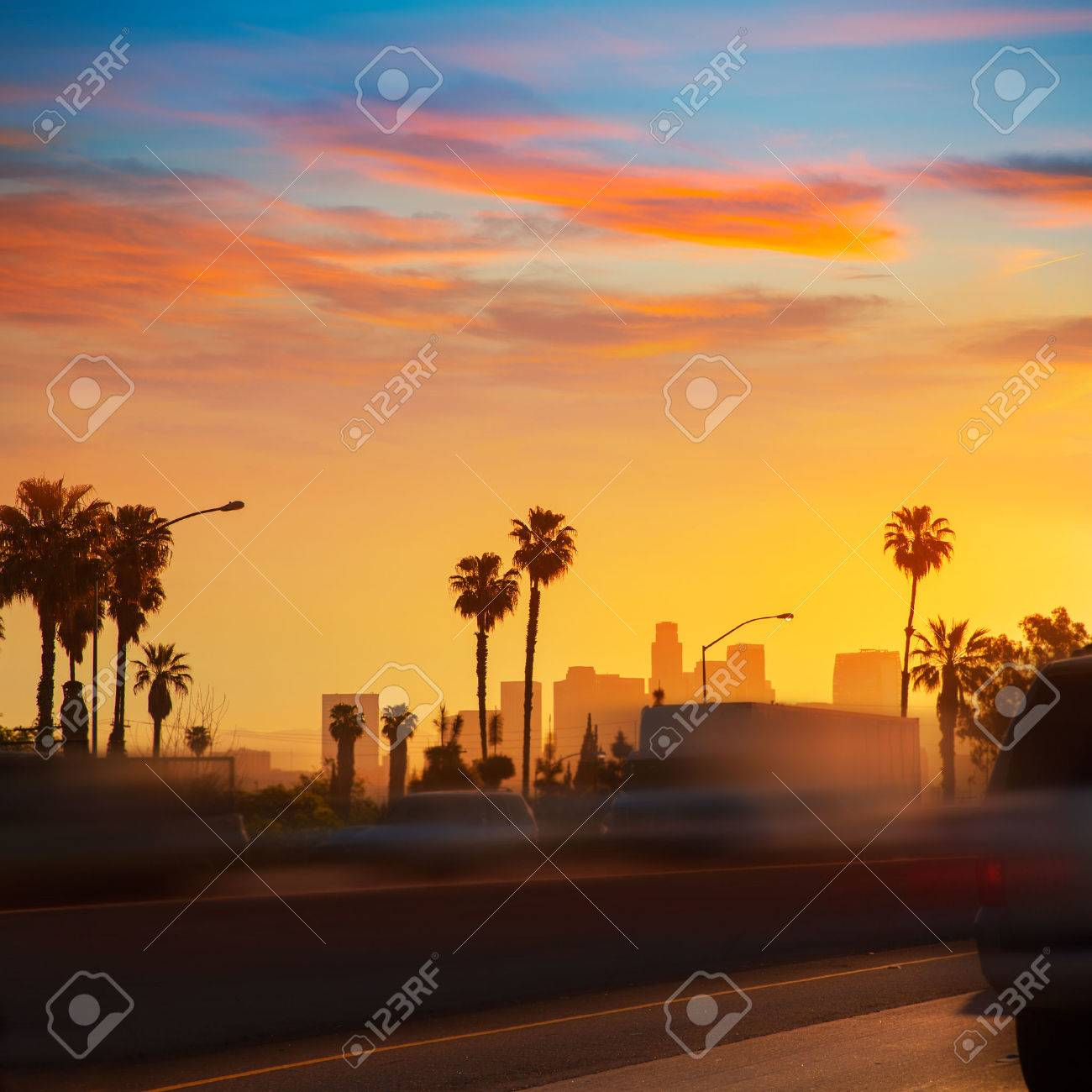 LA Los Angeles sunset skyline with traffic California from freeway Stock Photo - 22394272