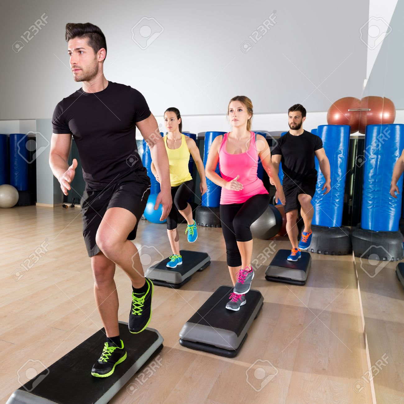 Cardio Step Dance People Group At Fitness Gym Training Workout Stock Photo