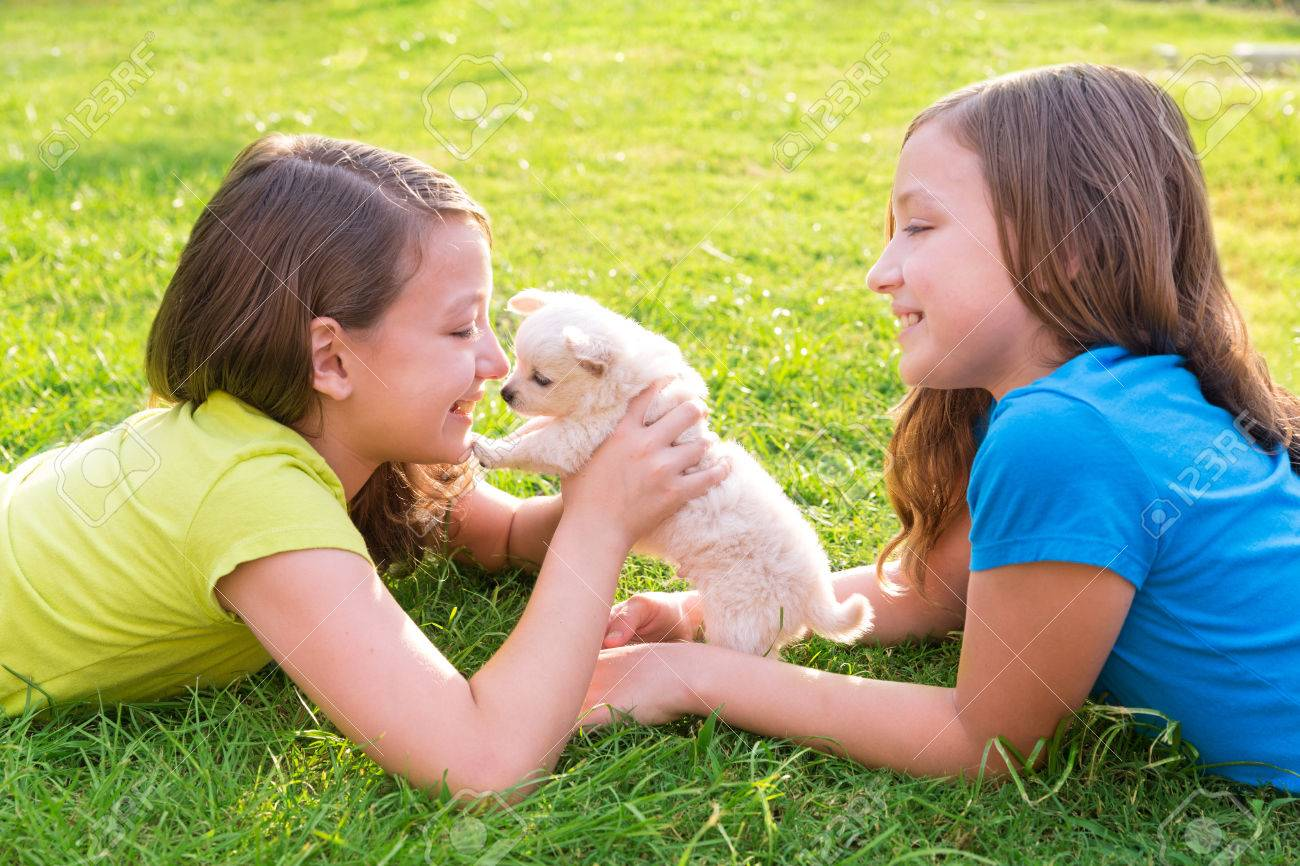 twin sister kid girls and puppy dog happy playing with pet lying