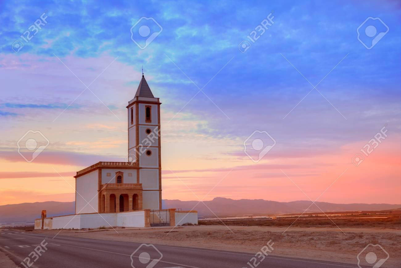 Atardecer Iglesia Almeria Cabo De Gata Salinas En San Miguel Beach En Espana