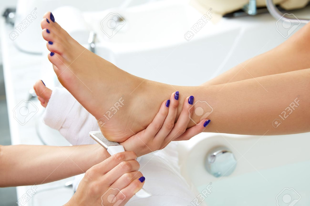 Pedicure Dead Skin Remover Foot Rasp Woman In Nail Salon Stock Photo ...