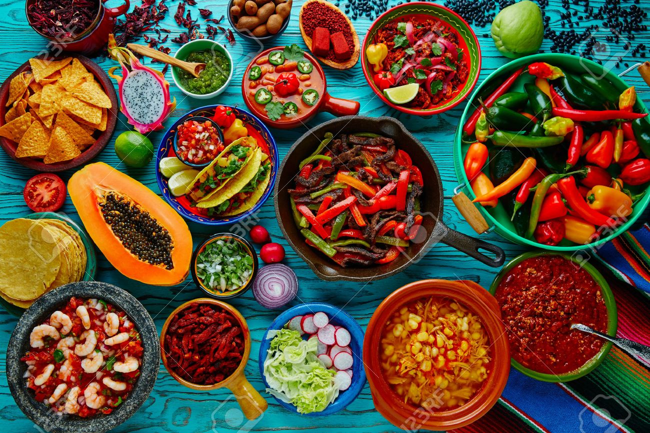 Mexican food mix colorful background Mexico - 51858116