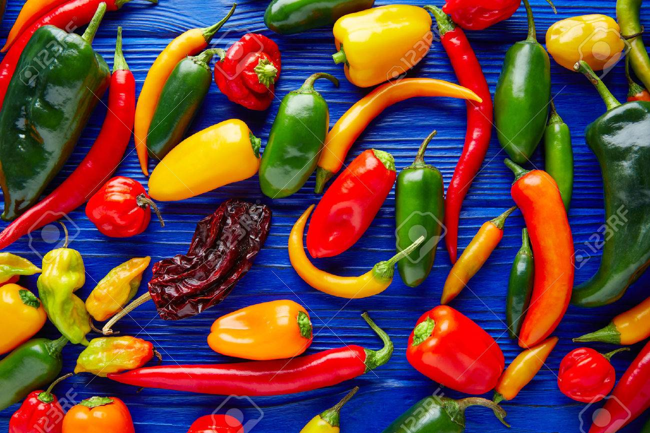 Mexican hot chili peppers colorful mix habanero poblano serrano jalapeno sweet Banque d'images - 51858266