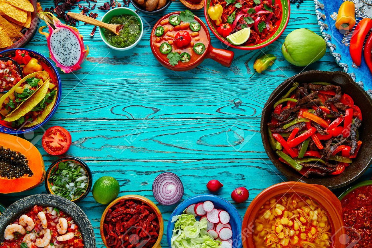 Mexican food mix copyspace frame colorful background Mexico Stock Photo - 51858278