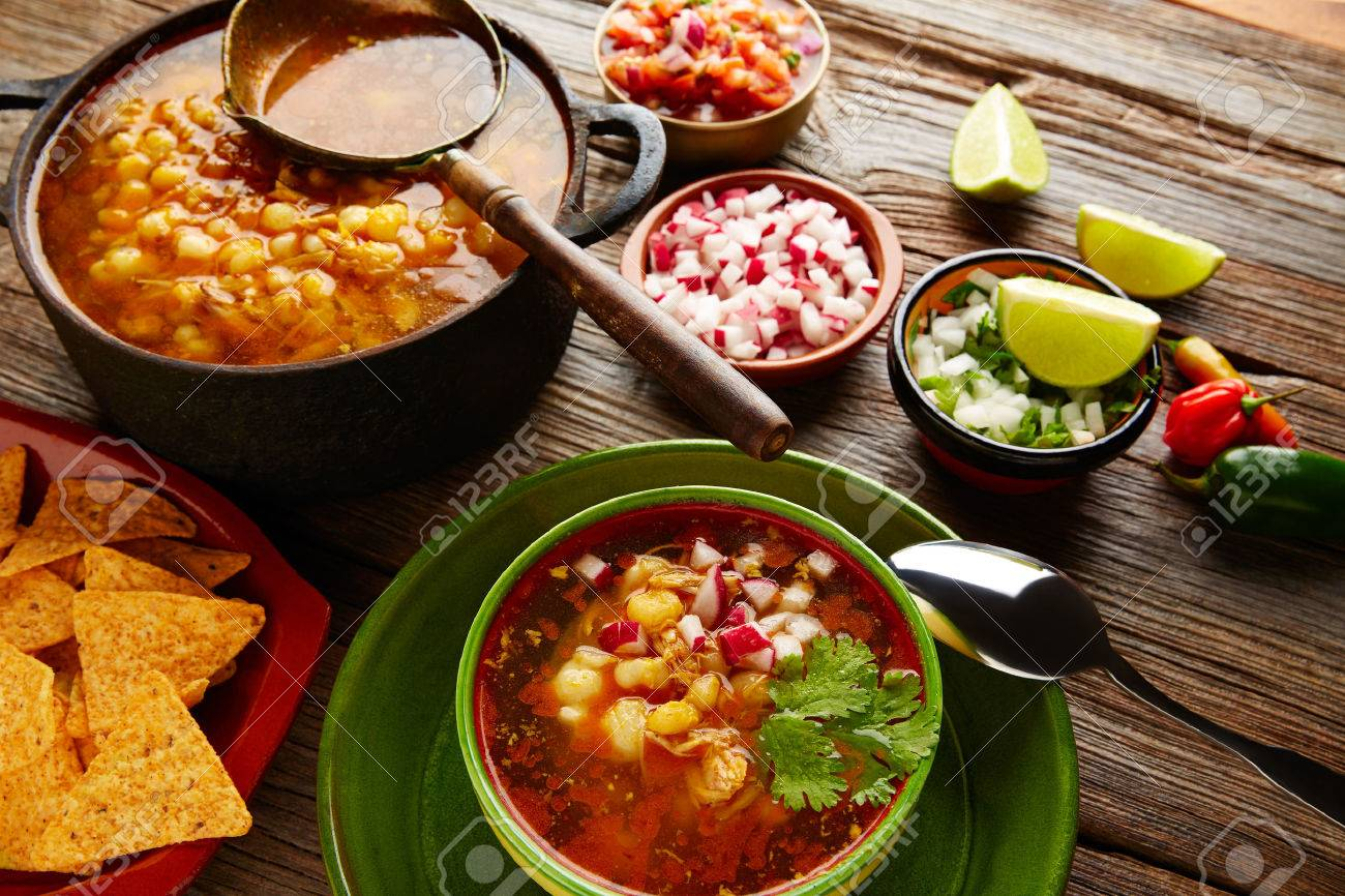 Pozole with mote big corn stew from Mexico with ingredients and appetizer Banque d'images - 51858661