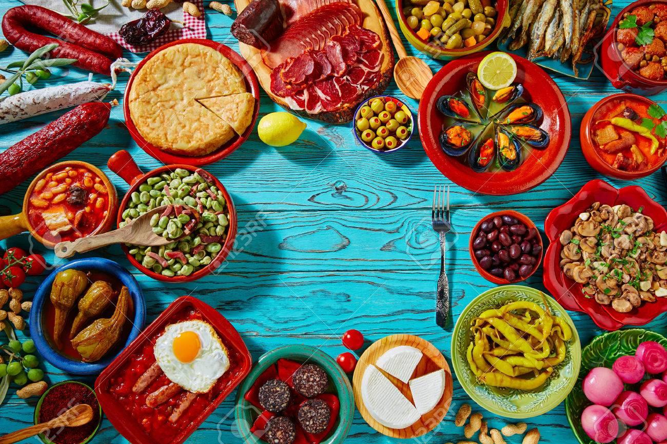 archivio fotografico tapas dalla spagna mix di ricette pi popolari della cucina mediterranea