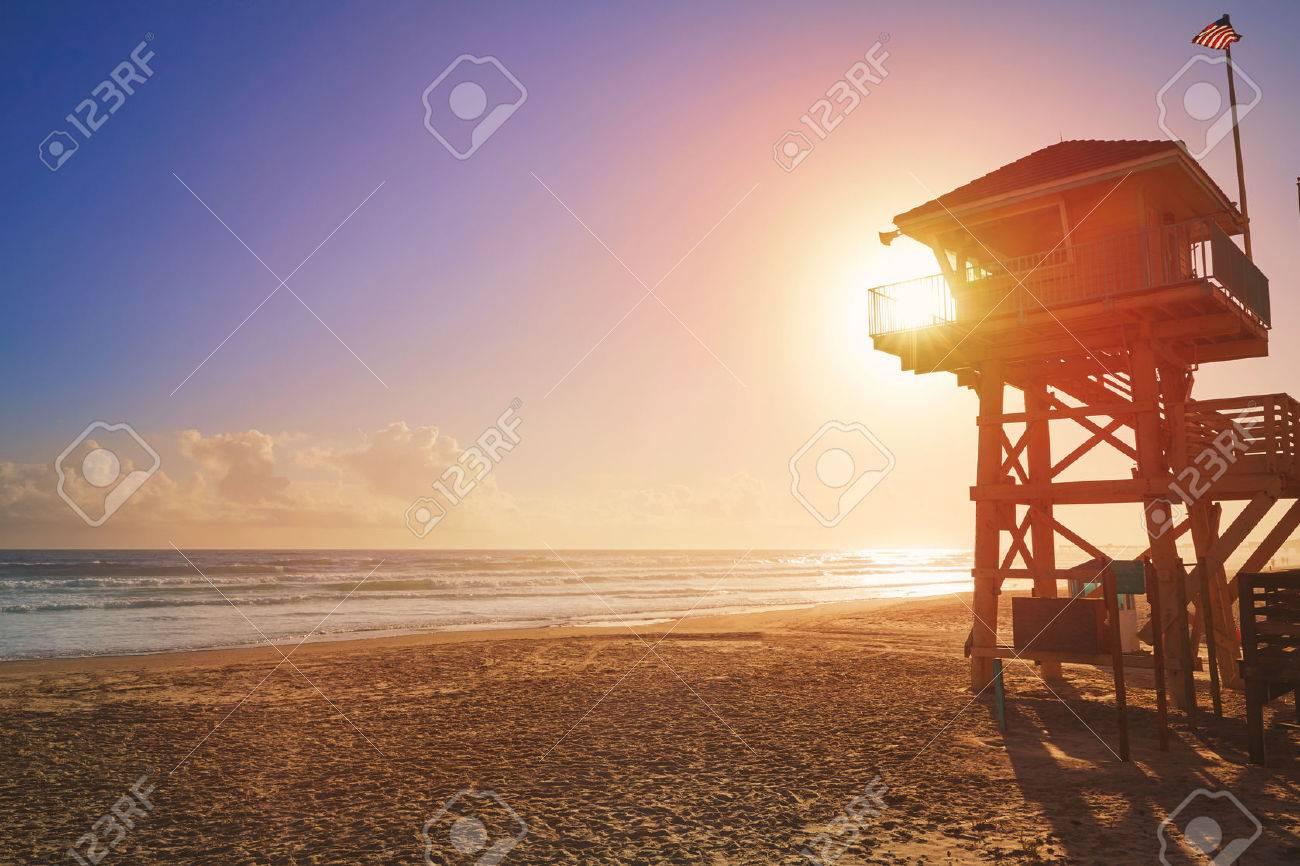 Daytona Beach in Florida baywatch tower in USA - 58900718
