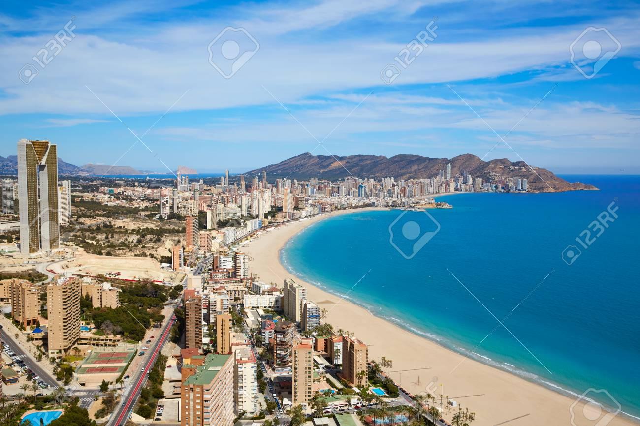 Benidorm beach aerial skyline in Alicante Mediterranean of Spain - 58879114