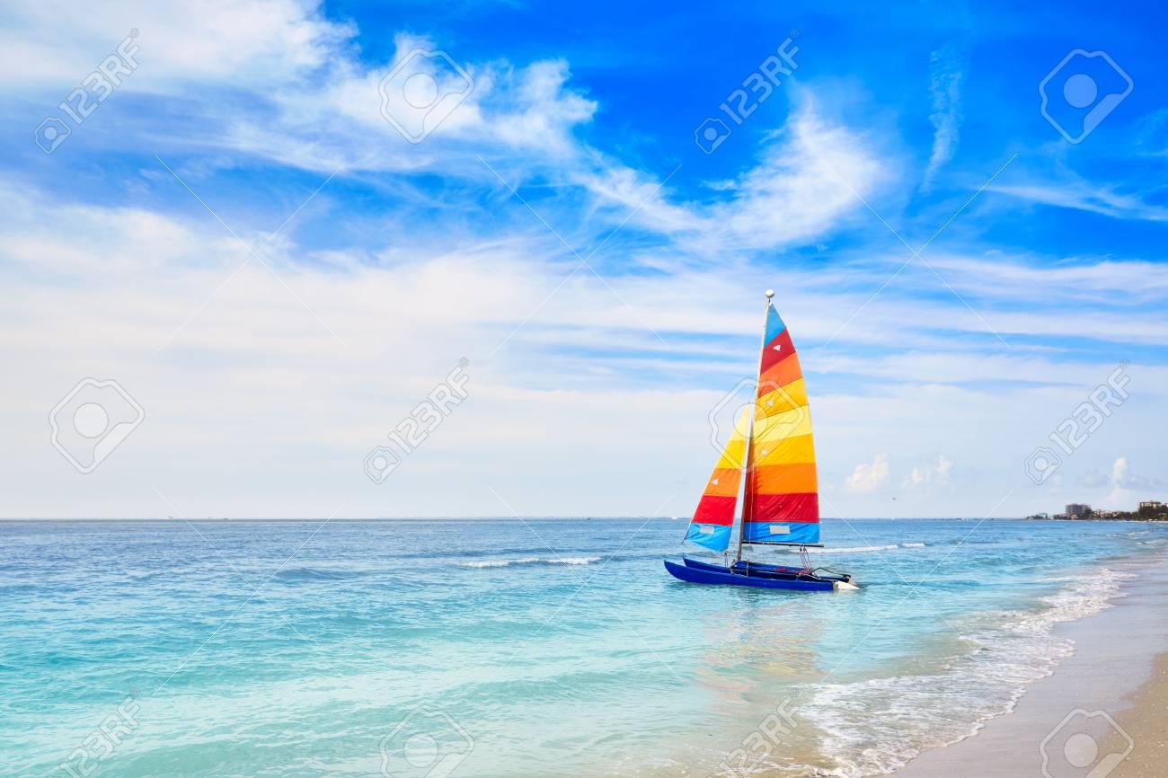 Florida Fort Myers beach catamaran sailboat in USA - 58899512