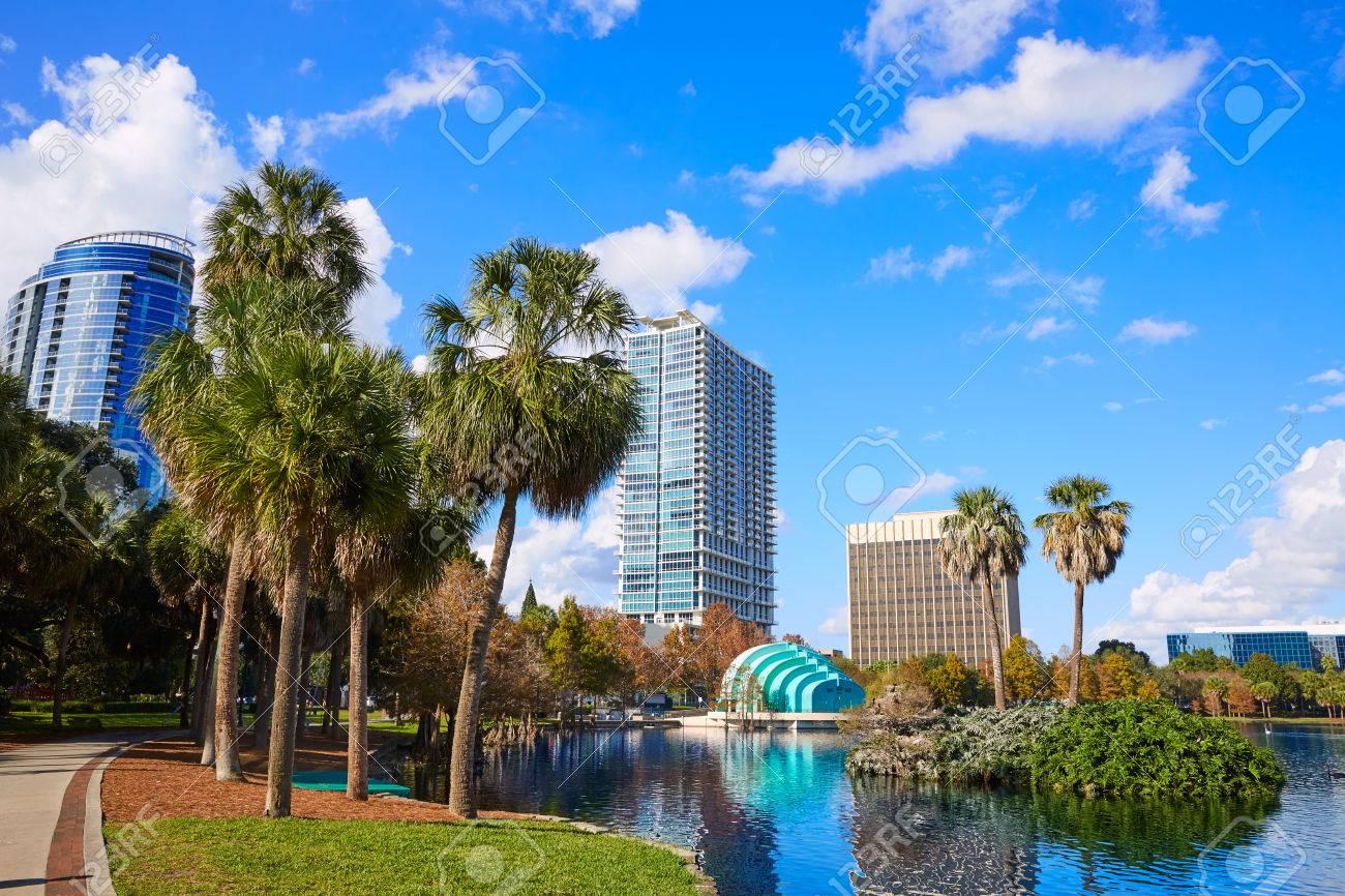 Orlando skyline fom lake Eola in Florida USA - 60127712
