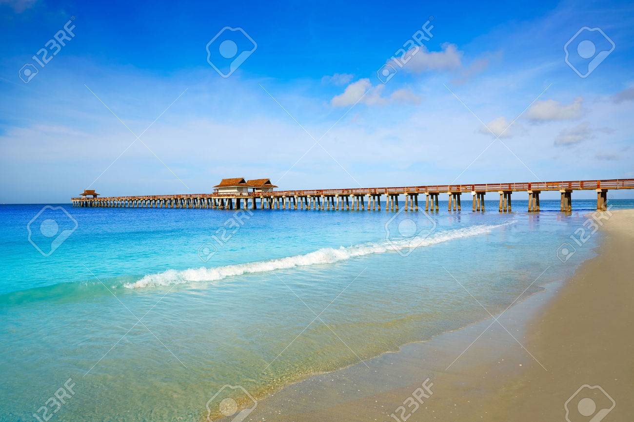 Naples Pier and beach in florida USA sunny day - 60127781