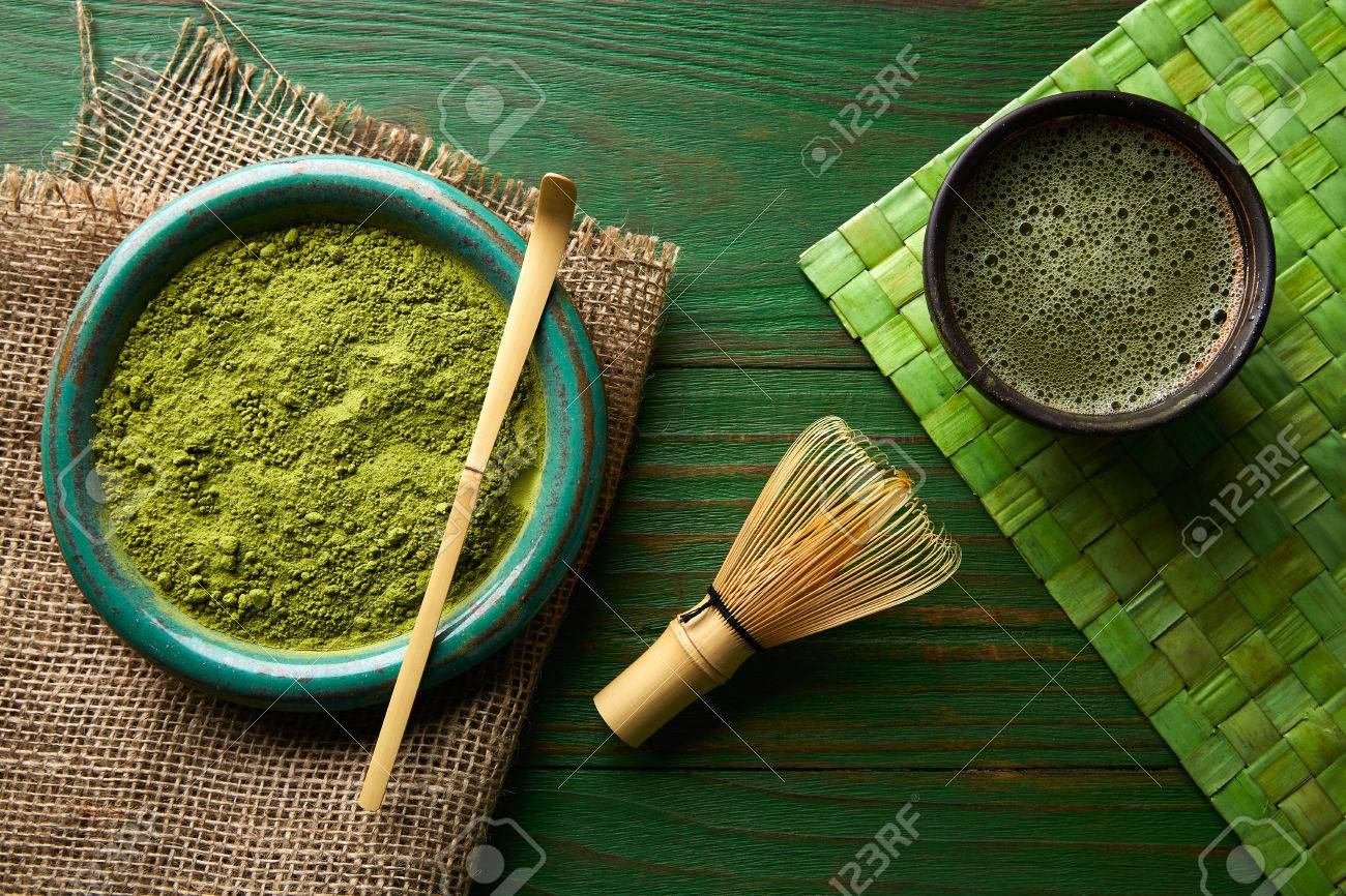 Matcha tea powder bamboo whisk chasen and spoon for japanese ceremony - 65791842