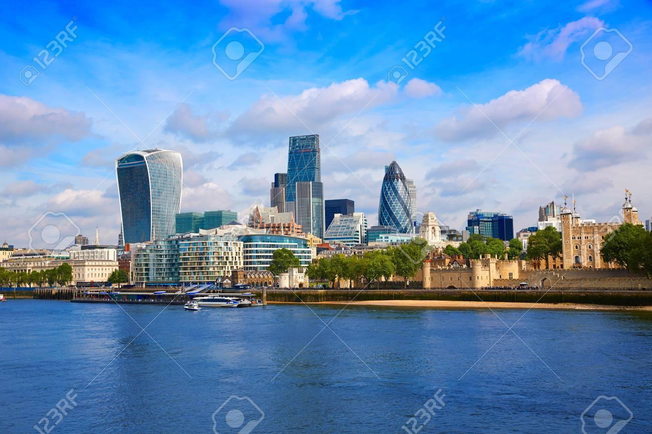 London financial district skyline Square Mile England UK - 71325493