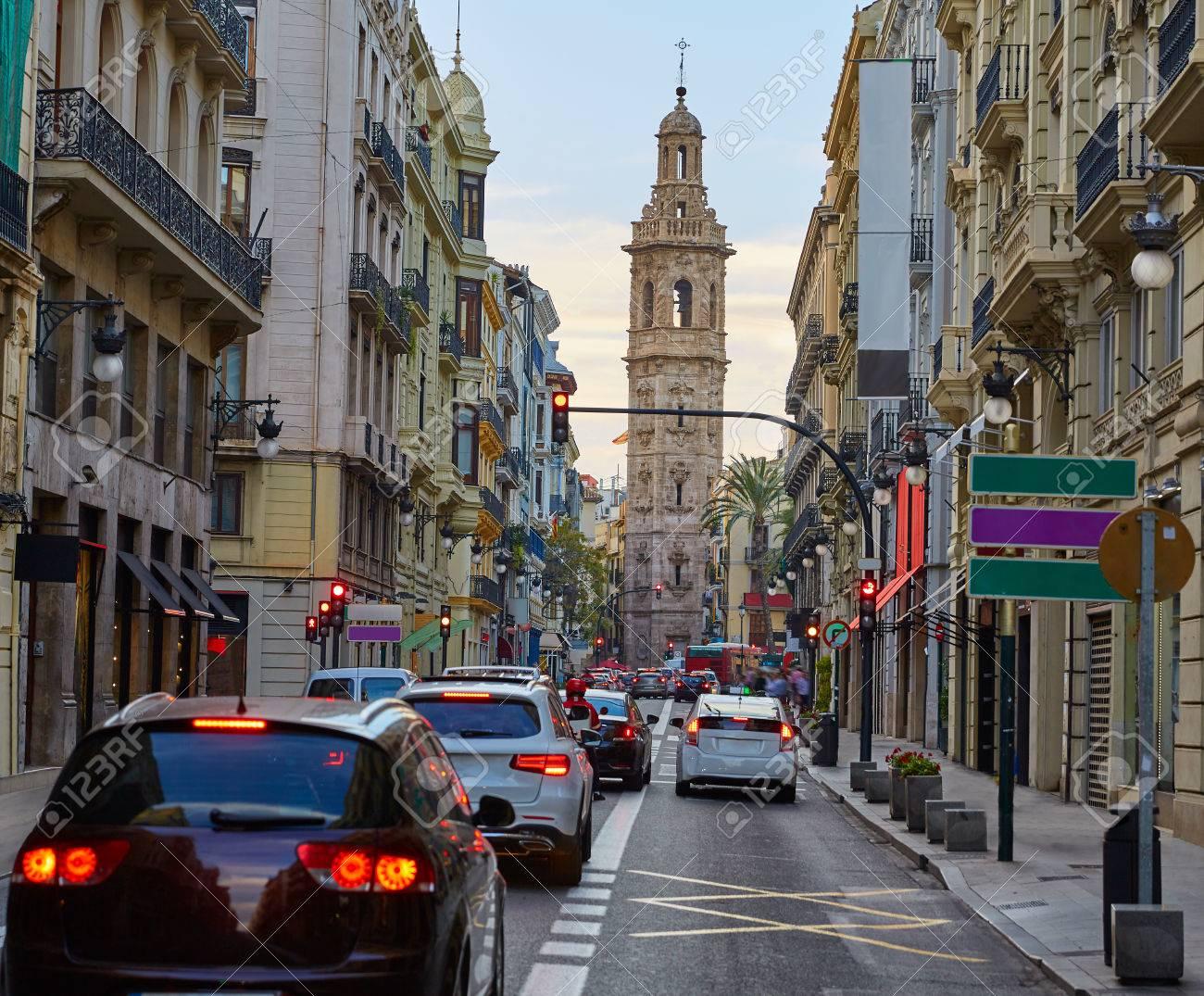 Calle De La Paz Straße Von Valencia In Spanien Lizenzfreie Fotos
