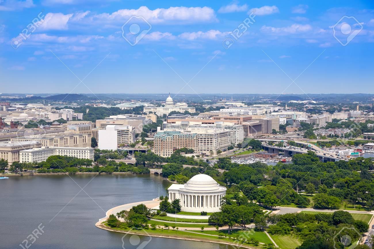 Washington DC aerial view with Thomas Jefferson Memorial building - 102326816