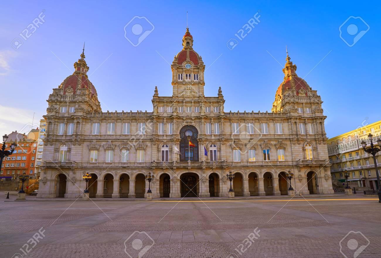 La Coruna City town hall in Maria Pita Square of Galicia Spain - 109673249