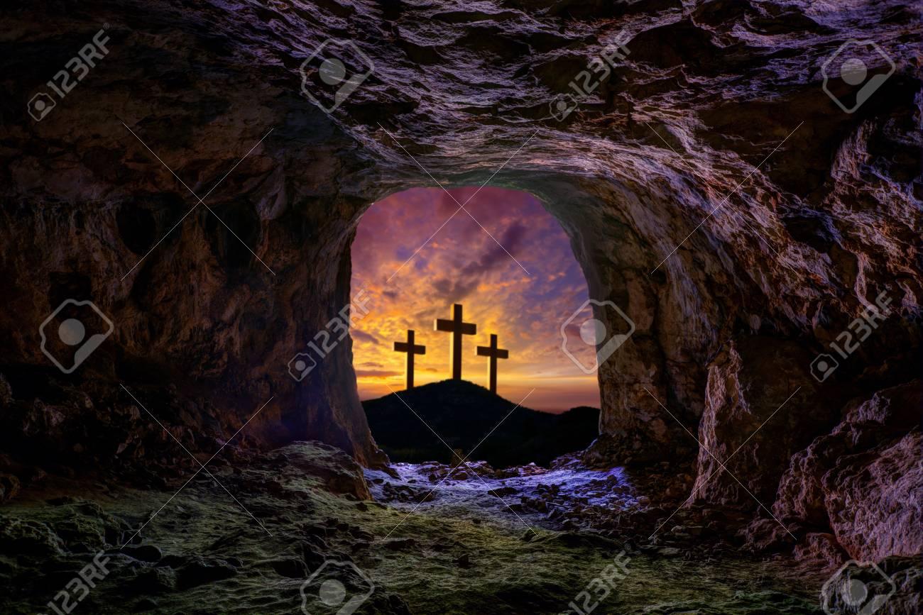 Jesus resurrection sepulcher grave cross crucifixion concept photo mount - 110852850