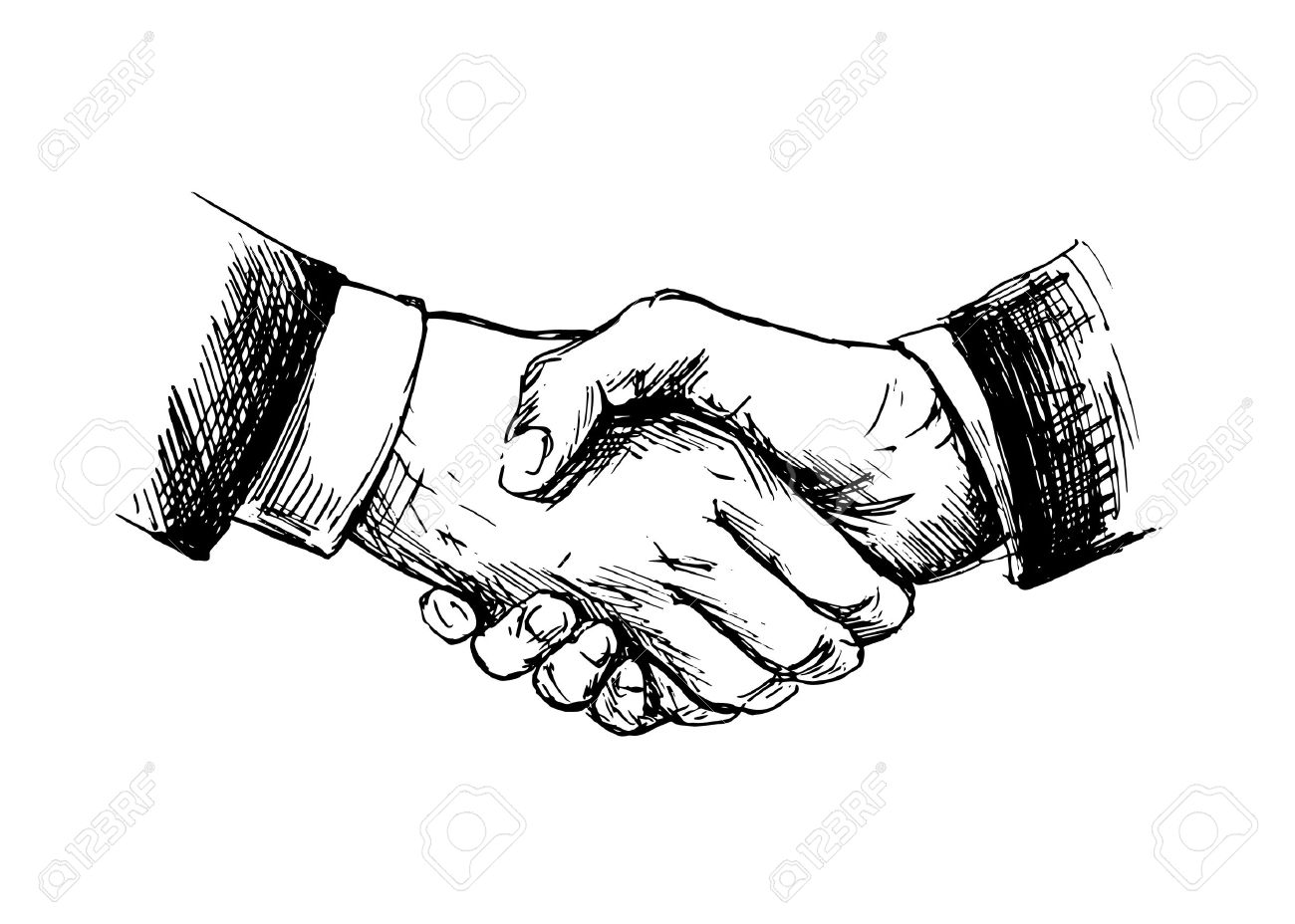 Drawing shake hands Vector illustration - 29299196