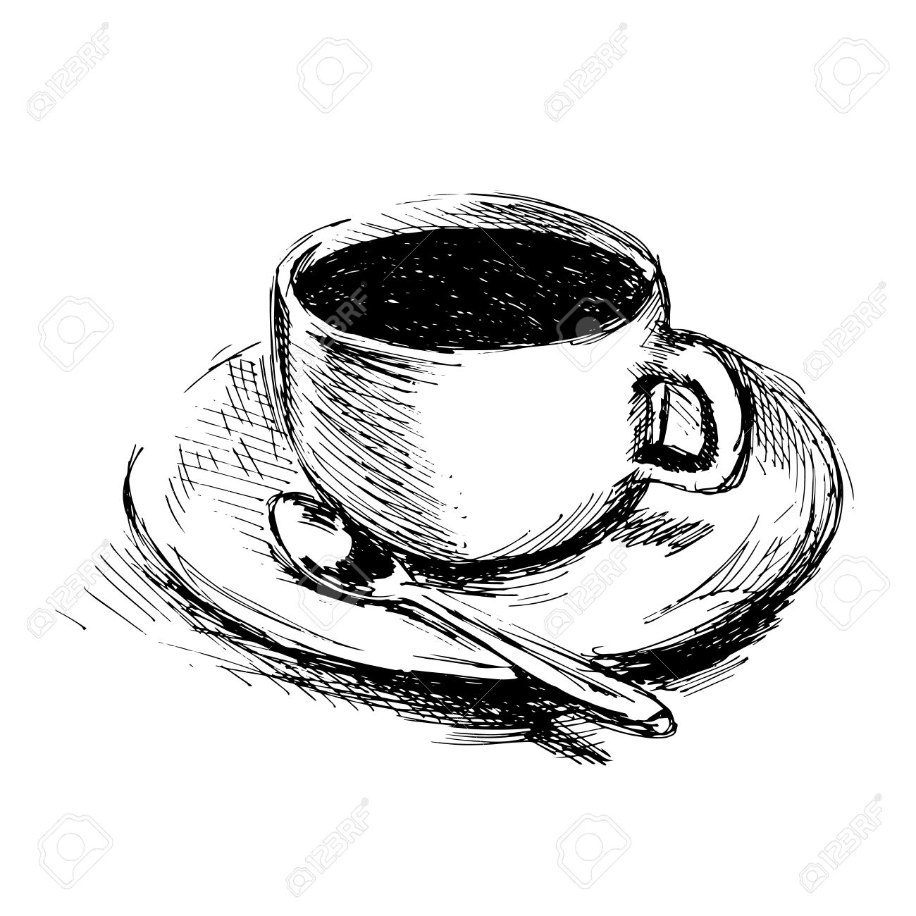 hand drawing coffee cup vector illustration stock vector 35756884