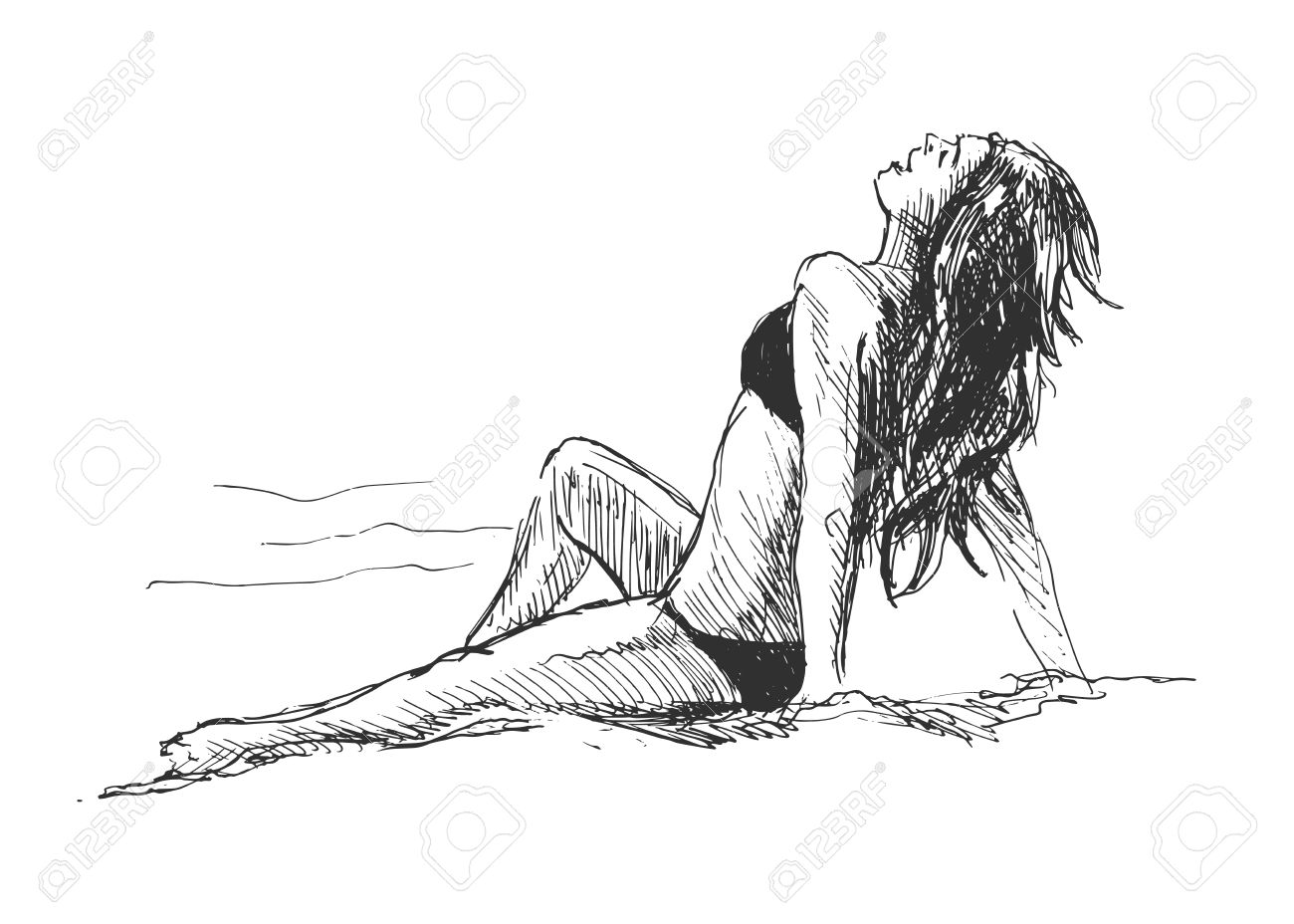 Line drawing beach : Hand drawing women on the beach royalty free cliparts vectors