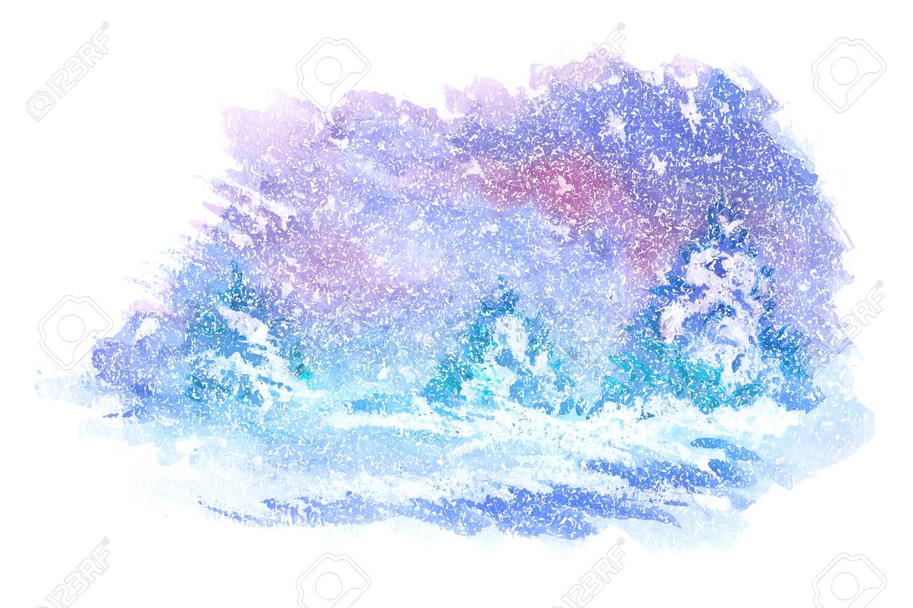 Watercolor Paintings Of Winter Landscapes Vector Illustration Royalty Free Cliparts Vectors And Stock Illustration Image 87003329