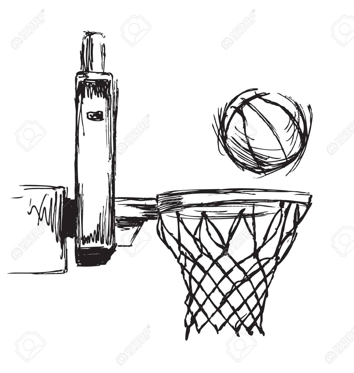 Hand Sketch Basketball Hoop And Ball Royalty Free Cliparts Vectors