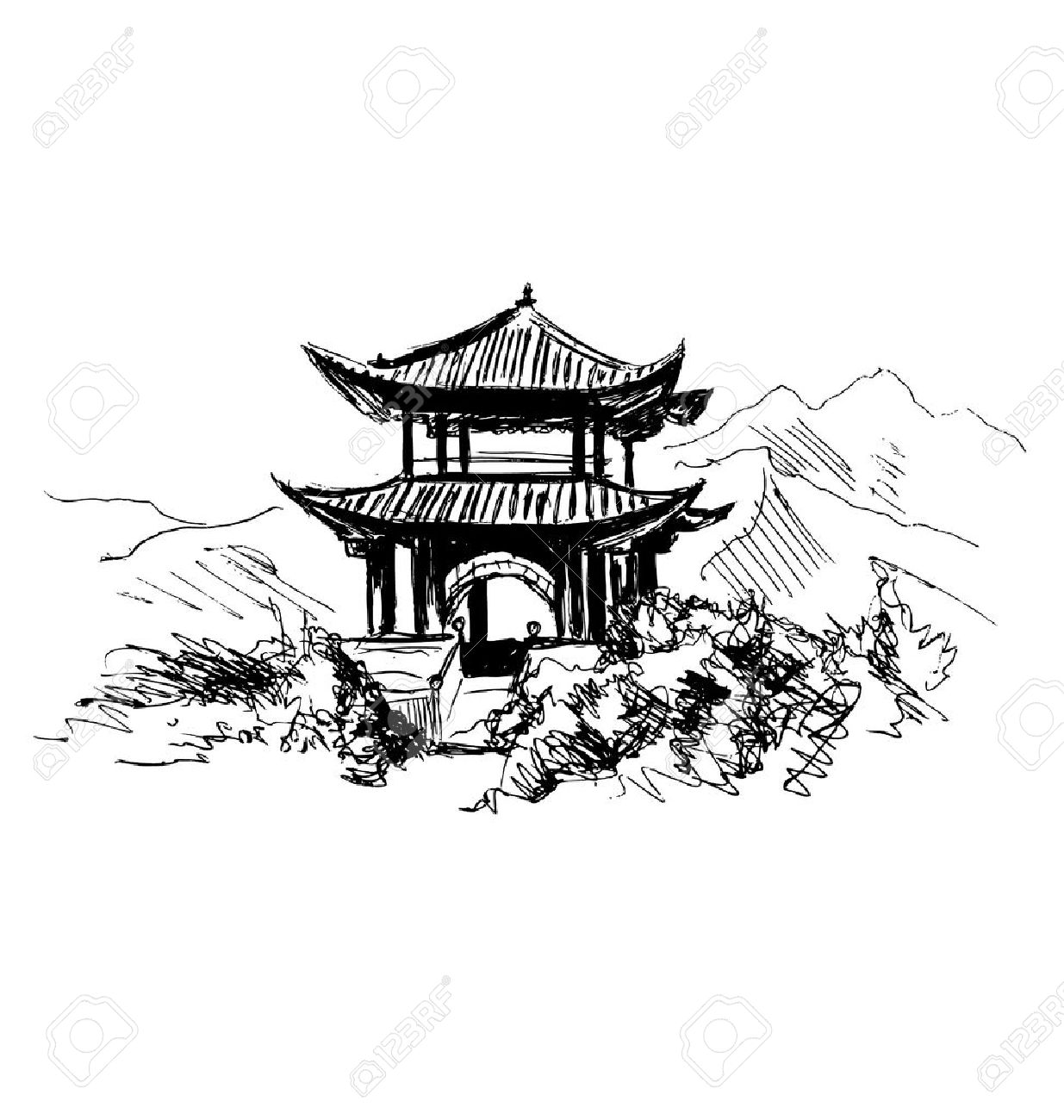Hand Sketch Chinese Landscape Stock Vector
