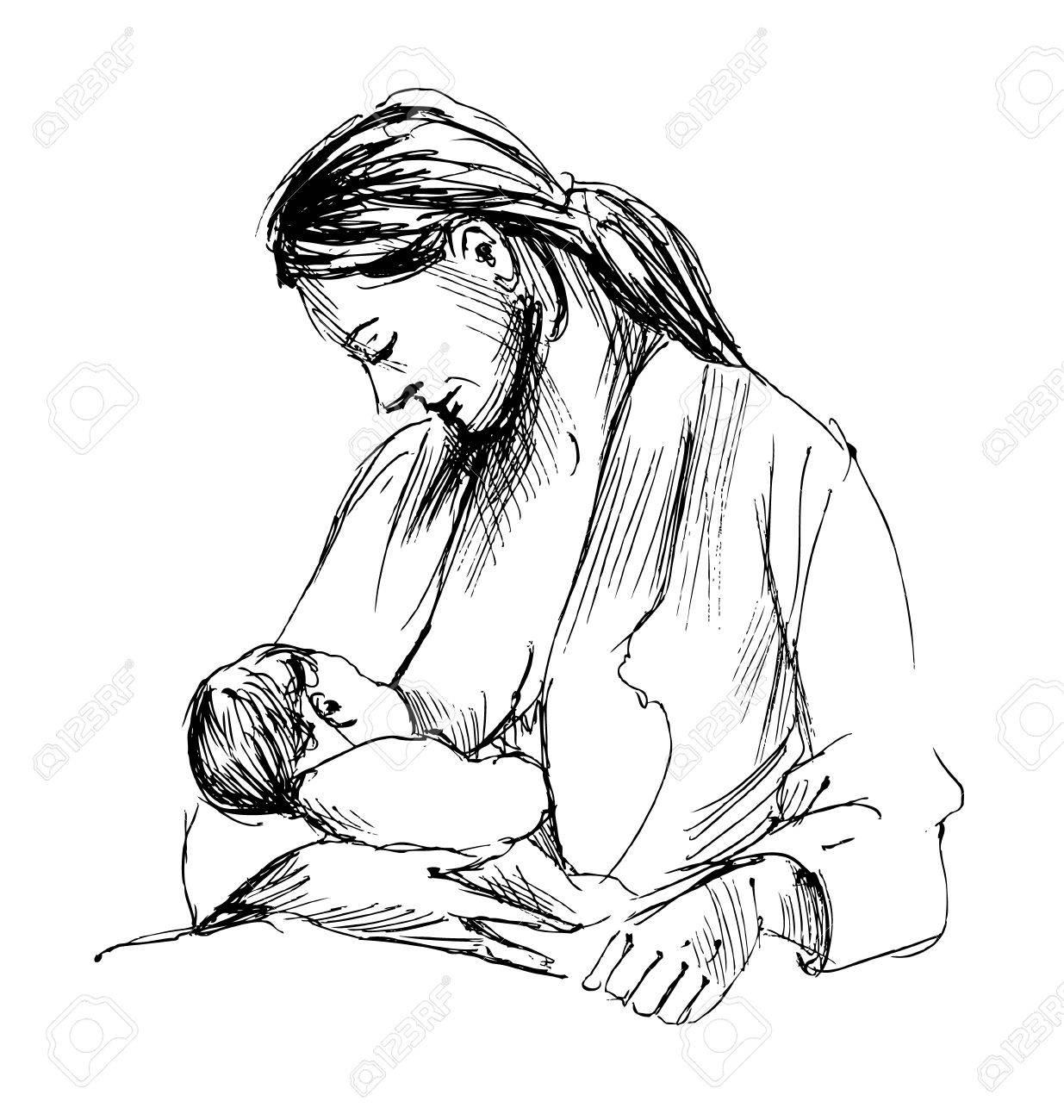 Hand sketch mother nursing baby illustration stock vector 56944370
