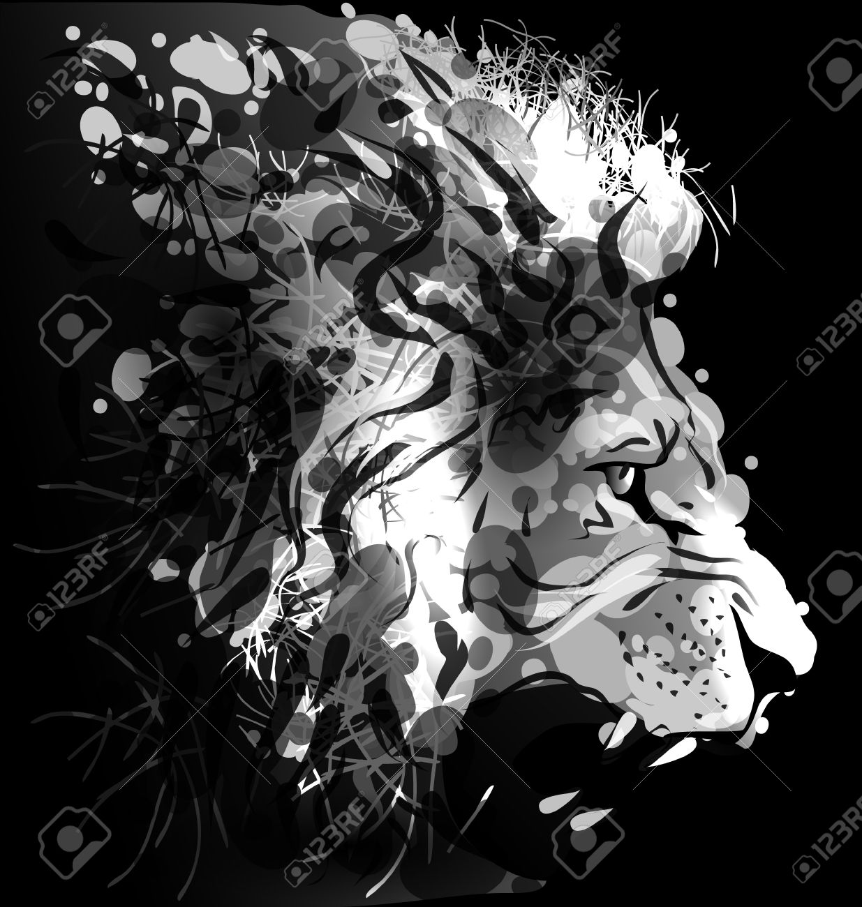 Greyscale Digital Painting Of A Lions Head Royalty Free Cliparts Vectors And Stock Illustration Image 58066895