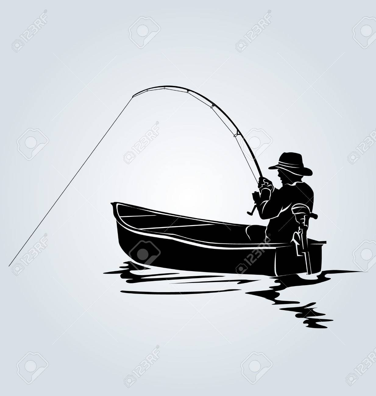 vector silhouette of a fisherman in a boat royalty free cliparts vectors and stock illustration image 59797791 vector silhouette of a fisherman in a boat