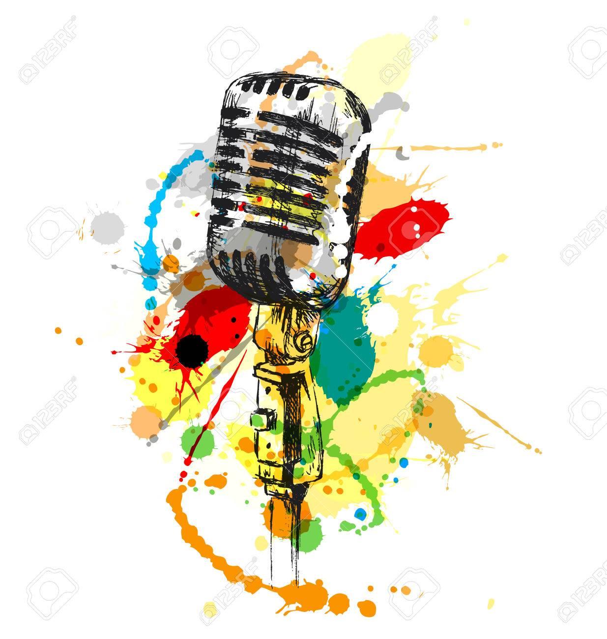 Color De Dibujo A Mano El Micrófono Pasado Ilustración Vectorial