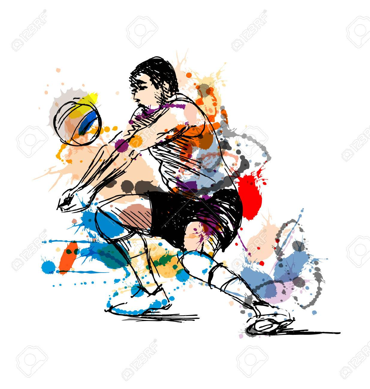 Coloreado Jugador De Voleibol De Dibujo A Mano. Ilustración ...
