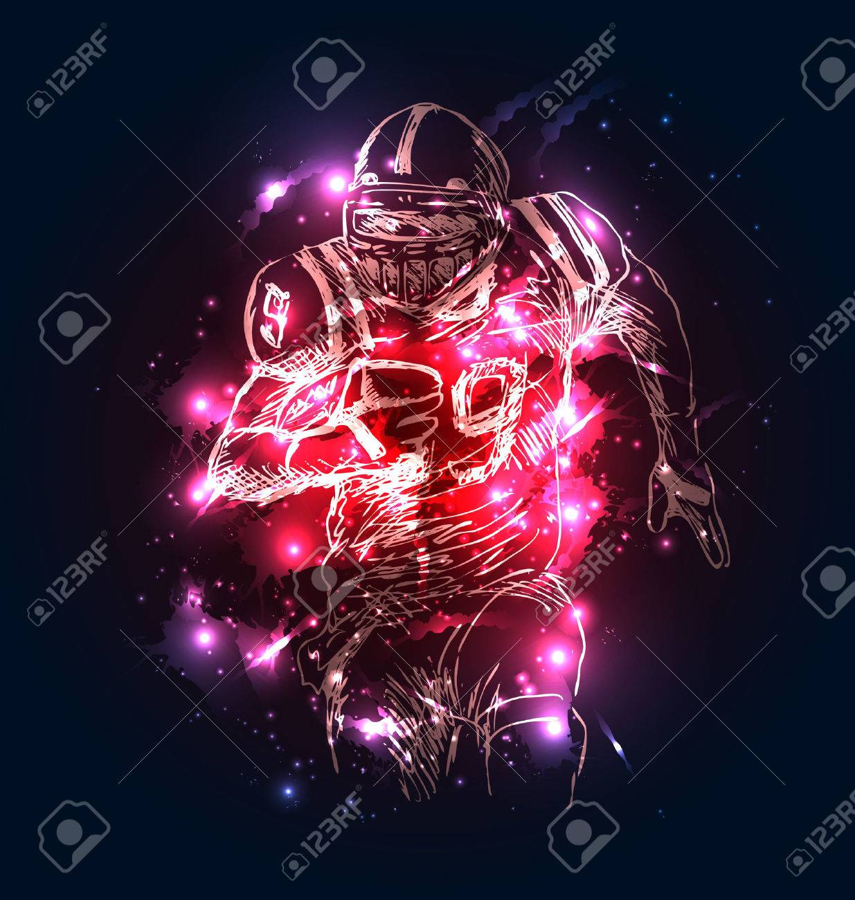 Vector background with sketch of american football player. Vector illustration - 73518480