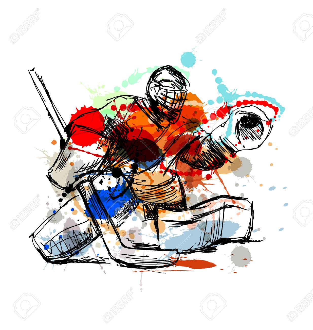 Colored Hand Sketch Hockey Goalie Vector Illustration Royalty Free