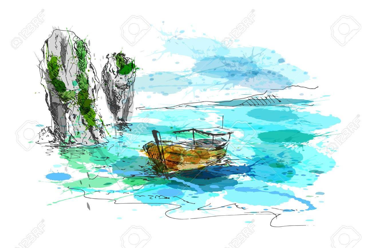 Colored hand drawing Thai coast. Vector illustration - 74486806