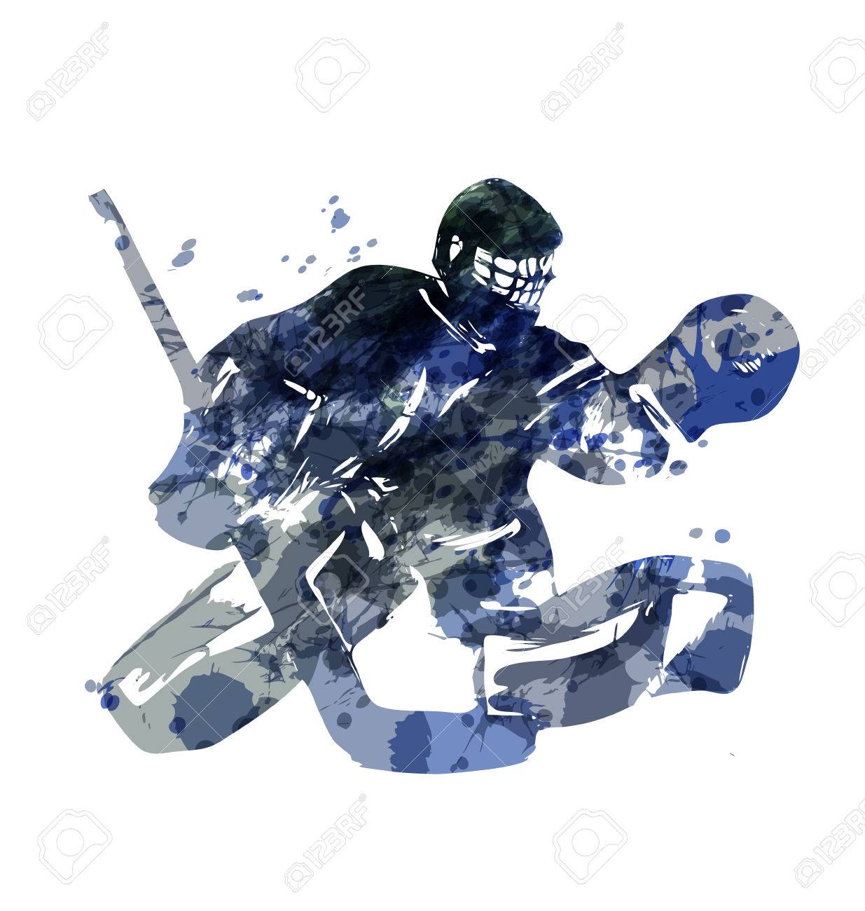 Watercolor Silhouette Hockey Goalie Vector Illustration Royalty