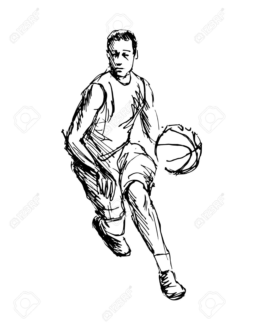 hand sketch basketball player vector illustration royalty free