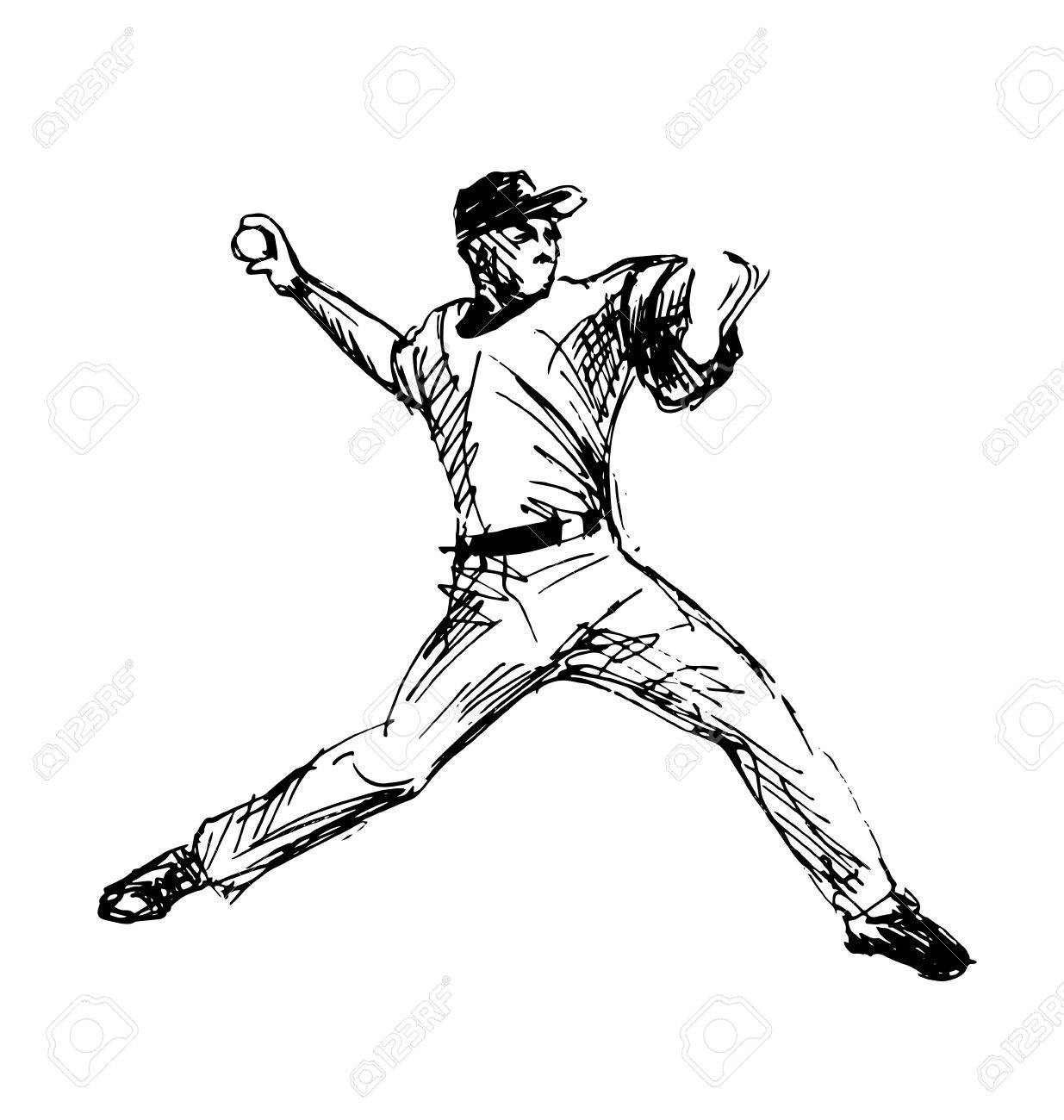 hand sketch baseball player vector illustration royalty free rh 123rf com basketball player vectors basketball player victory from tacoma academy
