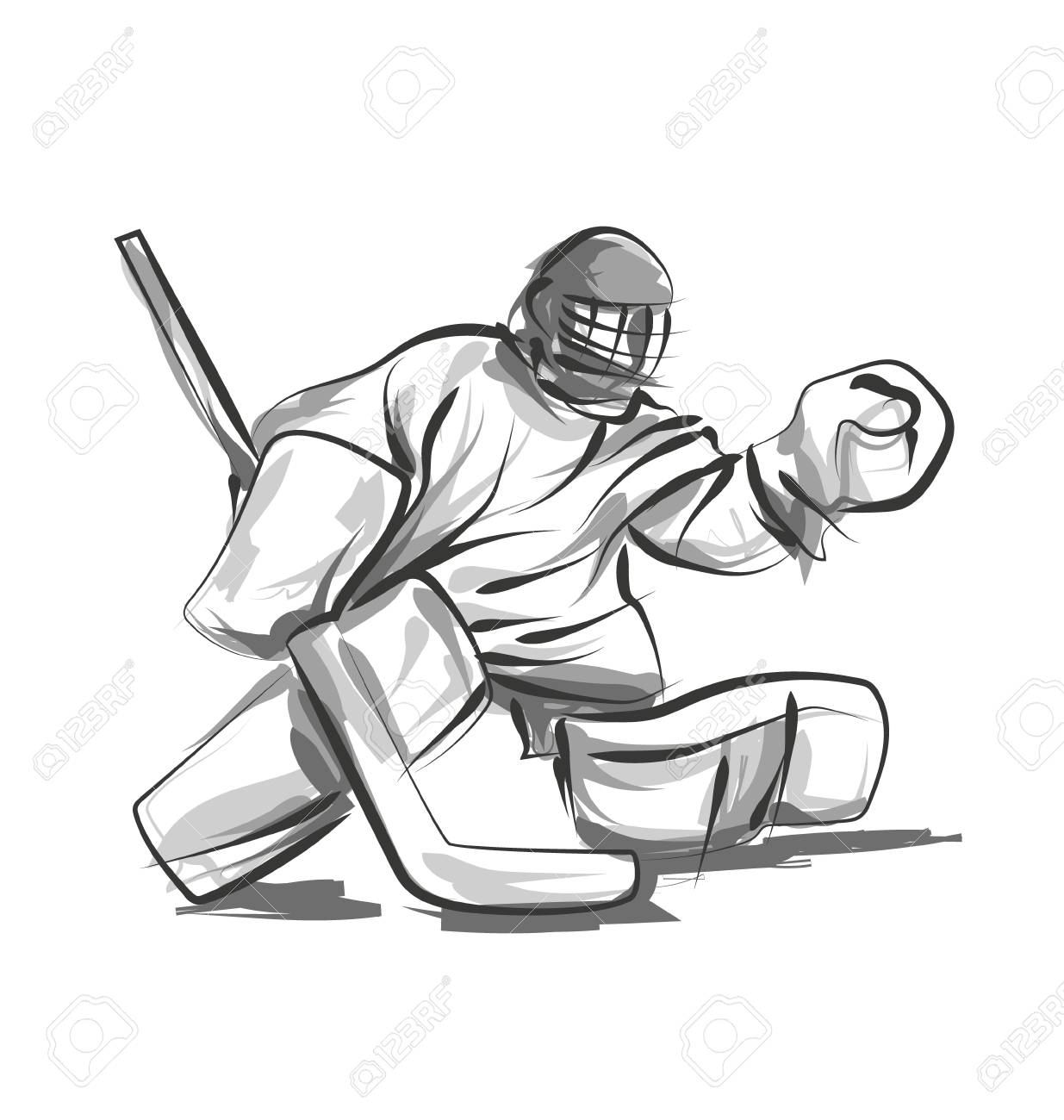 Vector Line Sketch Hockey Goalie Royalty Free Cliparts Vectors And
