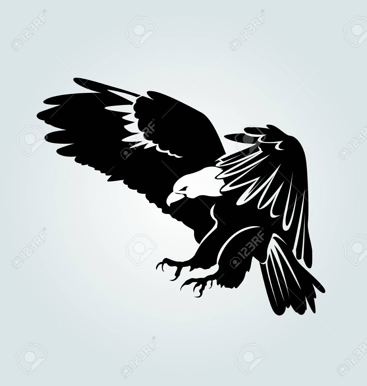 Vector Silhouette Of Flying Eagle Royalty Free Cliparts Vectors And Stock Illustration Image 93191703 Eagle silhouette png cliparts, all these png images has no background, free & unlimited downloads. vector silhouette of flying eagle